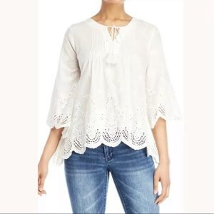Nanette Lepore Eyelet Scalloped Hem Top